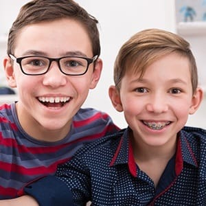 Two smiling young boys