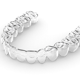 A digital image of an Invisalign clear aligner